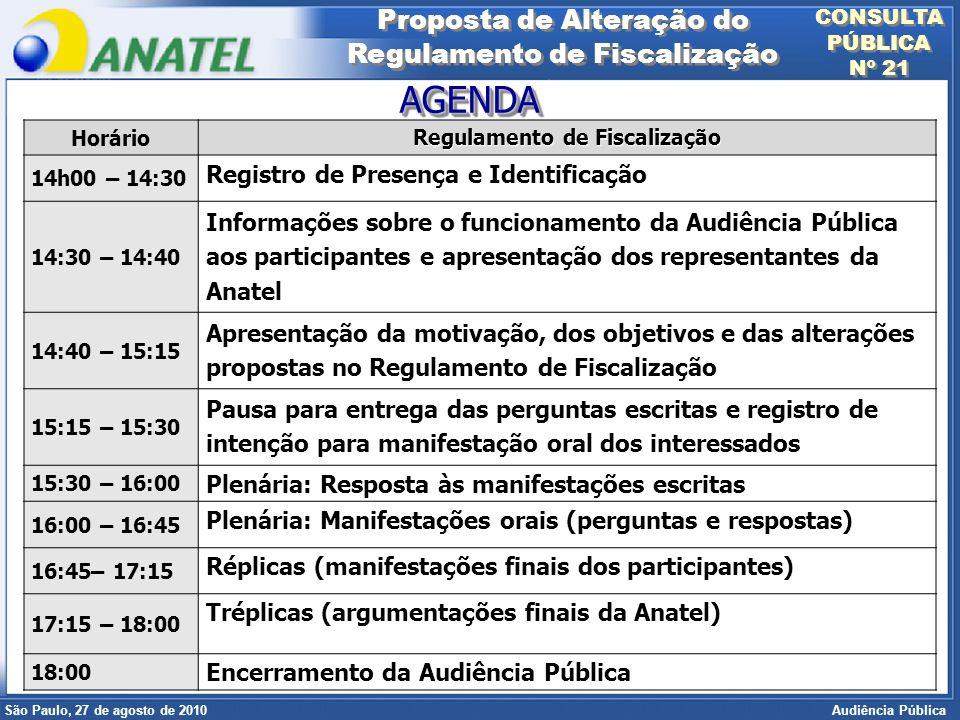 Superintendência de Radiofreqüência e Fiscalização Brasília, 12 de setembro de 2006 São Paulo, 27 de agosto de 2010 Audiência Pública Horário Regulamento de Fiscalização 14h00 – 14:30 Registro de Presença e Identificação 14:30 – 14:40 Informações sobre o funcionamento da Audiência Pública aos participantes e apresentação dos representantes da Anatel 14:40 – 15:15 Apresentação da motivação, dos objetivos e das alterações propostas no Regulamento de Fiscalização 15:15 – 15:30 Pausa para entrega das perguntas escritas e registro de intenção para manifestação oral dos interessados 15:30 – 16:00 Plenária: Resposta às manifestações escritas 16:00 – 16:45 Plenária: Manifestações orais (perguntas e respostas) 16:45– 17:15 Réplicas (manifestações finais dos participantes) 17:15 – 18:00 Tréplicas (argumentações finais da Anatel) 18:00 Encerramento da Audiência Pública AGENDAAGENDA Proposta de Alteração do Regulamento de Fiscalização Proposta de Alteração do Regulamento de Fiscalização CONSULTA PÚBLICA Nº 21 CONSULTA PÚBLICA Nº 21
