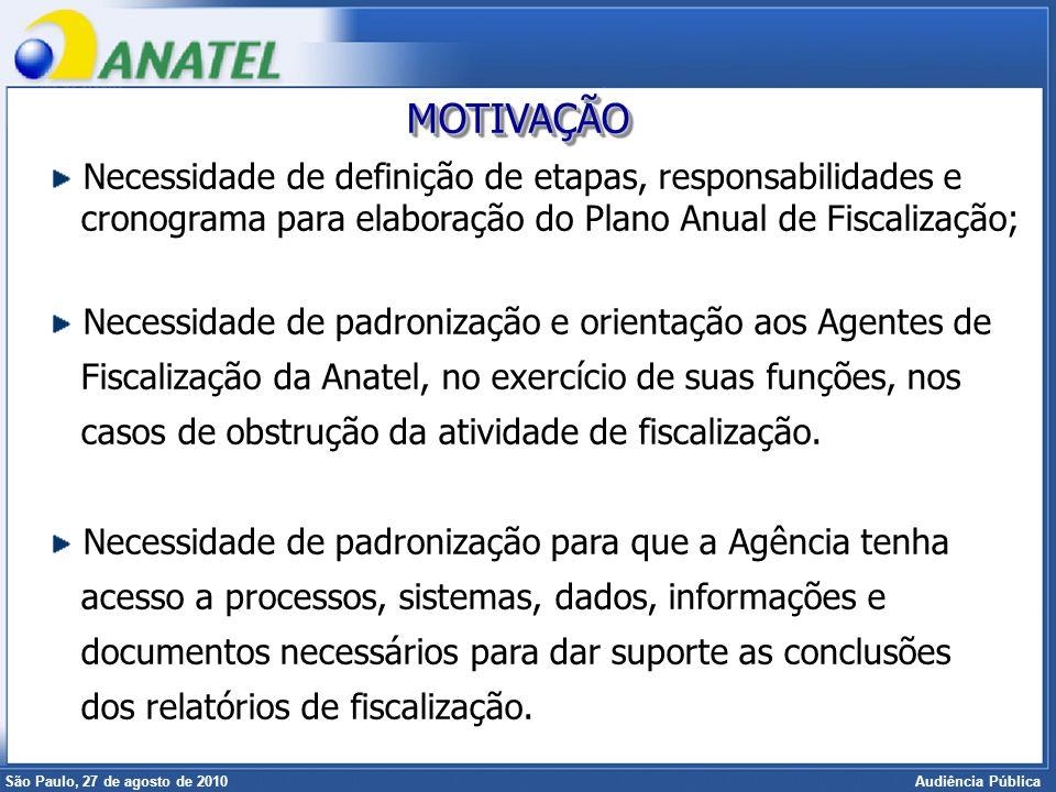 Superintendência de Radiofreqüência e Fiscalização Brasília, 12 de setembro de 2006 São Paulo, 27 de agosto de 2010 Audiência Pública TÍTULO ITÍTULO I - DAS DISPOSIÇÕES GERAIS TÍTULO IITÍTULO II - DA FISCALIZAÇÃO TÍTULO IIITÍTULO III - DO AGENTE DE FISCALIZAÇÃO TÍTULO IV - DAS OBRIGAÇÕES DAS PRESTADORASTÍTULO IV TÍTULO V - DAS DISPOSIÇÕES FINAISTÍTULO V REGULAMENTO DE FISCALIZAÇÃO
