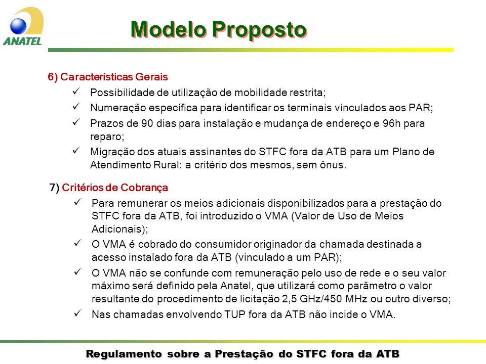 Regulamento sobre a Prestação do STFC fora da ATB 7) Critérios de Cobrança Para remunerar os meios adicionais disponibilizados para a prestação do STFC fora da ATB, foi introduzido o VMA (Valor de Uso de Meios Adicionais); O VMA é cobrado do consumidor originador da chamada destinada a acesso instalado fora da ATB (vinculado a um PAR); O VMA não se confunde com remuneração pelo uso de rede e o seu valor máximo será definido pela Anatel, que utilizará como parâmetro o valor resultante do procedimento de licitação 2,5 GHz/450 MHz ou outro diverso; Nas chamadas envolvendo TUP fora da ATB não incide o VMA.
