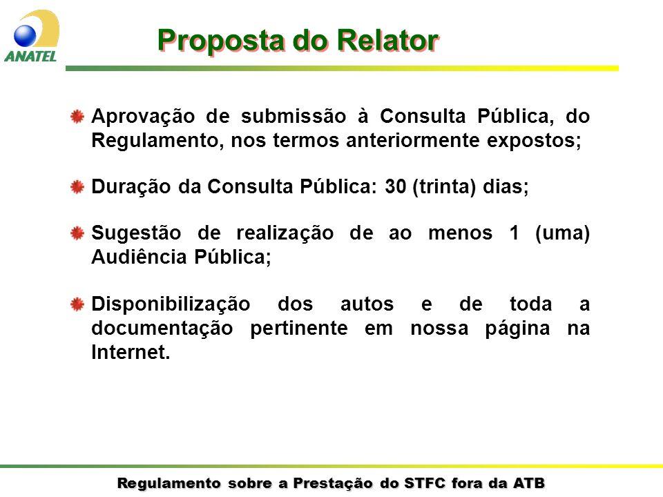 Regulamento sobre a Prestação do STFC fora da ATB Proposta do Relator Aprovação de submissão à Consulta Pública, do Regulamento, nos termos anteriorme