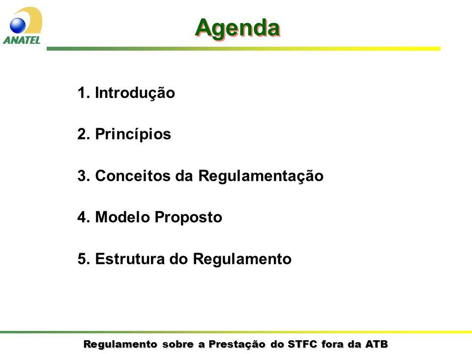 Regulamento sobre a Prestação do STFC fora da ATB 1.Introdução 2.Princípios 3.Conceitos da Regulamentação 4.Modelo Proposto 5.Estrutura do Regulamento Agenda