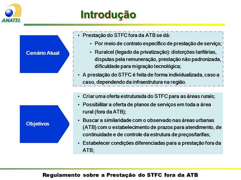 Regulamento sobre a Prestação do STFC fora da ATB Cenário Atual Prestação do STFC fora da ATB se dá: Por meio de contrato específico de prestação de serviço; Ruralcel (legado da privatização): distorções tarifárias, disputas pela remuneração, prestação não padronizada, dificuldade para migração tecnológica; A prestação do STFC é feita de forma individualizada, caso a caso, dependendo da infraestrutura na região.