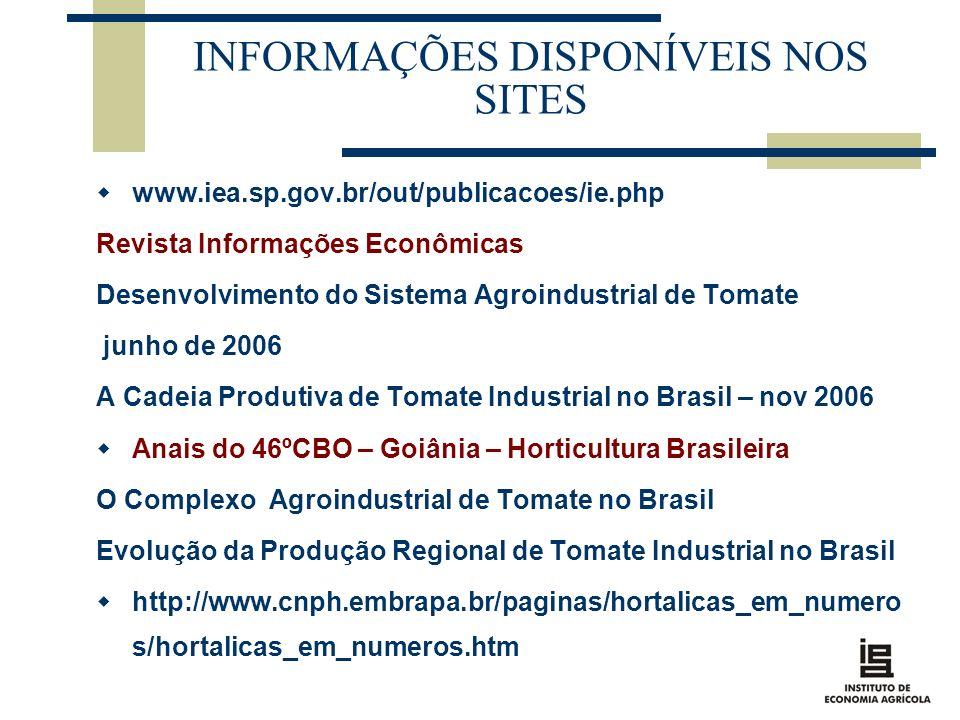 INFORMAÇÕES DISPONÍVEIS NOS SITES www.iea.sp.gov.br/out/publicacoes/ie.php Revista Informações Econômicas Desenvolvimento do Sistema Agroindustrial de