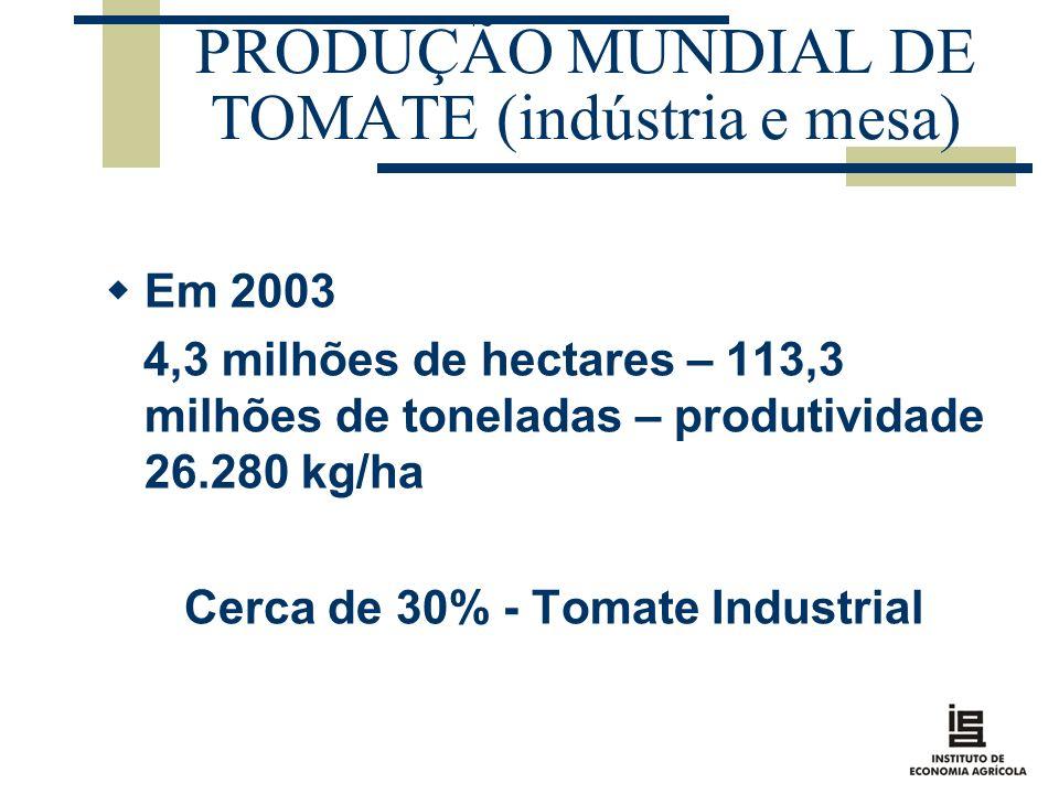 PRODUÇÃO MUNDIAL DE TOMATE (indústria e mesa) Em 2003 4,3 milhões de hectares – 113,3 milhões de toneladas – produtividade 26.280 kg/ha Cerca de 30% -