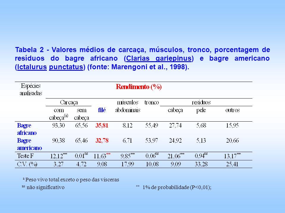 Tabela 2 - Valores médios de carcaça, músculos, tronco, porcentagem de resíduos do bagre africano (Clarias gariepinus) e bagre americano (Ictalurus pu