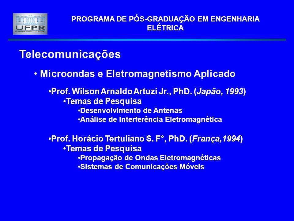 PROGRAMA DE PÓS-GRADUAÇÃO EM ENGENHARIA ELÉTRICA Telecomunicações Microondas e Eletromagnetismo Aplicado Prof. Wilson Arnaldo Artuzi Jr., PhD. (Japão,