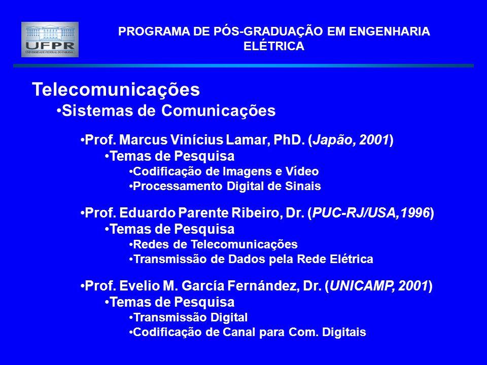 PROGRAMA DE PÓS-GRADUAÇÃO EM ENGENHARIA ELÉTRICA Telecomunicações Sistemas de Comunicações Prof. Marcus Vinícius Lamar, PhD. (Japão, 2001) Temas de Pe