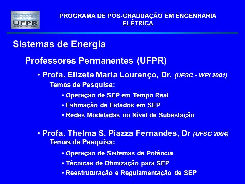 PROGRAMA DE PÓS-GRADUAÇÃO EM ENGENHARIA ELÉTRICA Sistemas de Energia Professores Permanentes (UFPR) Profa. Elizete Maria Lourenço, Dr. (UFSC - WPI 200