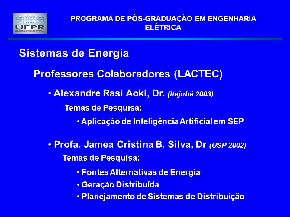 PROGRAMA DE PÓS-GRADUAÇÃO EM ENGENHARIA ELÉTRICA Sistemas de Energia Professores Colaboradores (LACTEC) Alexandre Rasi Aoki, Dr.