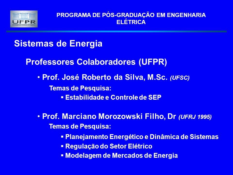 PROGRAMA DE PÓS-GRADUAÇÃO EM ENGENHARIA ELÉTRICA Sistemas de Energia Professores Colaboradores (UFPR) Prof. José Roberto da Silva, M.Sc. (UFSC) Temas