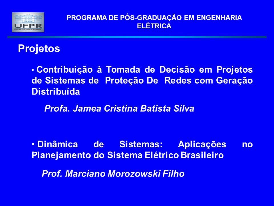 PROGRAMA DE PÓS-GRADUAÇÃO EM ENGENHARIA ELÉTRICA Projetos Contribuição à Tomada de Decisão em Projetos de Sistemas de Proteção De Redes com Geração Distribuída Profa.