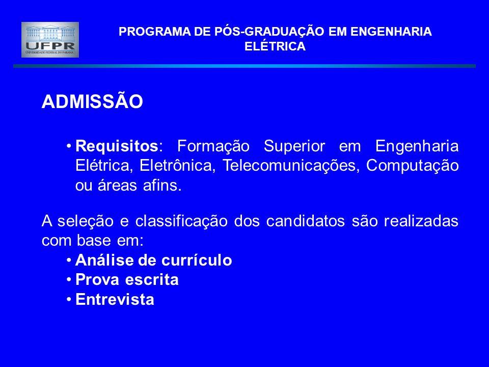 PROGRAMA DE PÓS-GRADUAÇÃO EM ENGENHARIA ELÉTRICA ADMISSÃO Requisitos: Formação Superior em Engenharia Elétrica, Eletrônica, Telecomunicações, Computaç
