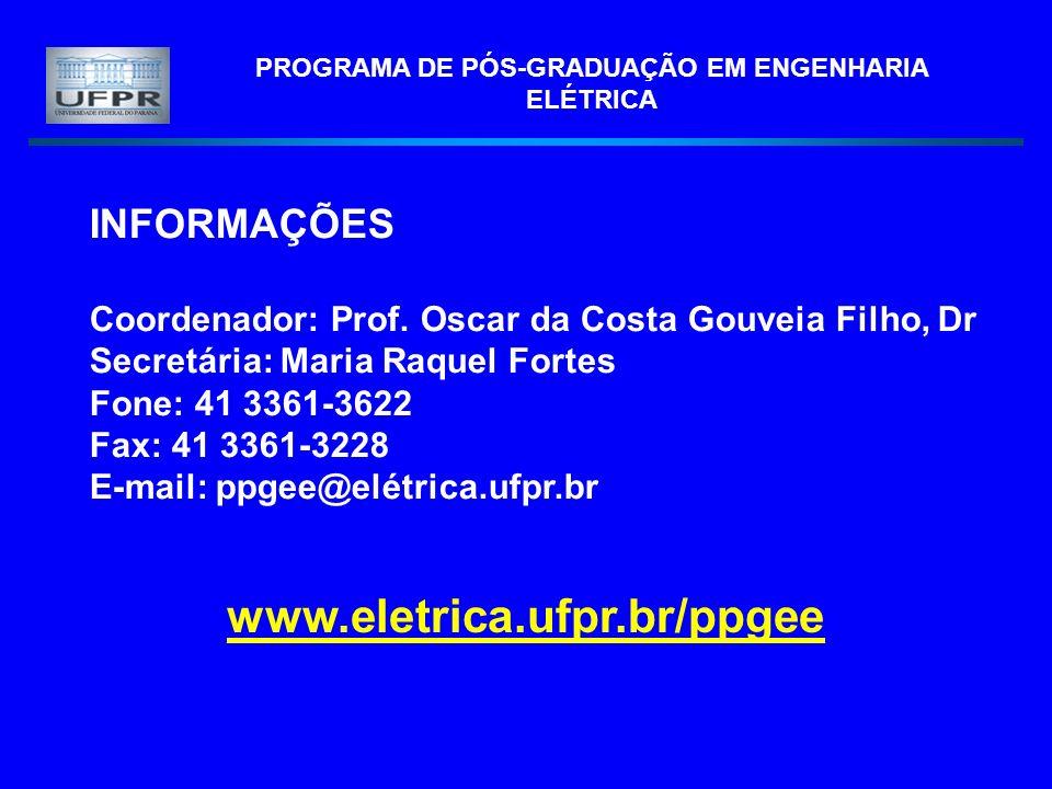 PROGRAMA DE PÓS-GRADUAÇÃO EM ENGENHARIA ELÉTRICA INFORMAÇÕES Coordenador: Prof. Oscar da Costa Gouveia Filho, Dr Secretária: Maria Raquel Fortes Fone: