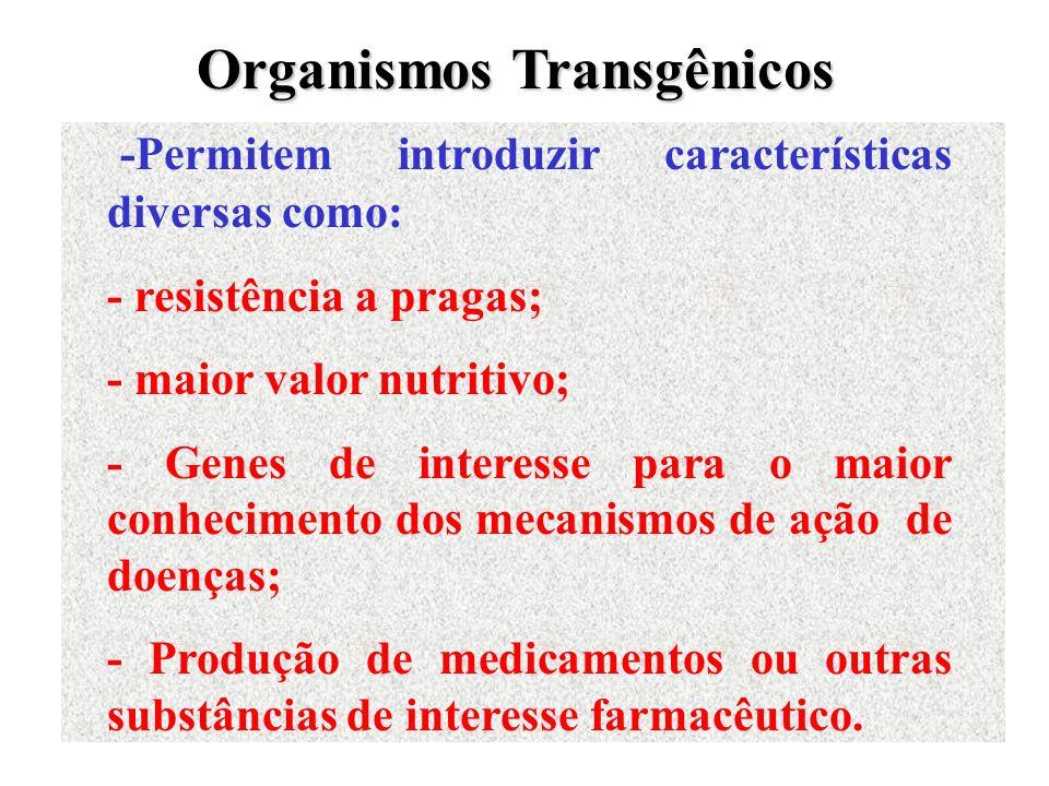 -Permitem introduzir características diversas como: - resistência a pragas; - maior valor nutritivo; - Genes de interesse para o maior conhecimento do