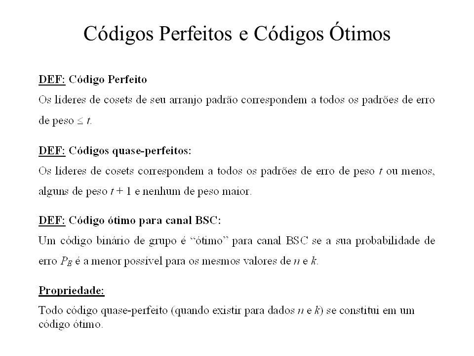 Códigos Perfeitos e Códigos Ótimos