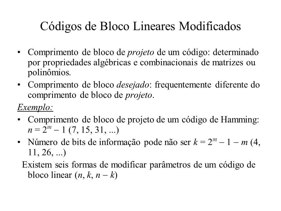 Códigos de Bloco Lineares Modificados Comprimento de bloco de projeto de um código: determinado por propriedades algébricas e combinacionais de matriz