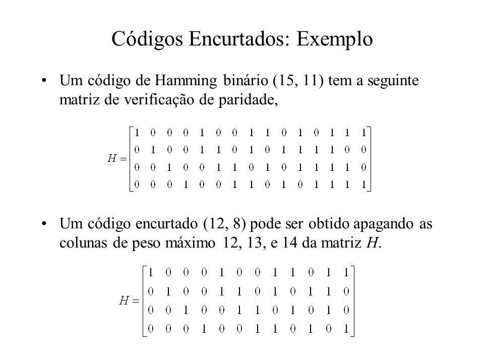 Códigos Encurtados: Exemplo Um código de Hamming binário (15, 11) tem a seguinte matriz de verificação de paridade, Um código encurtado (12, 8) pode s