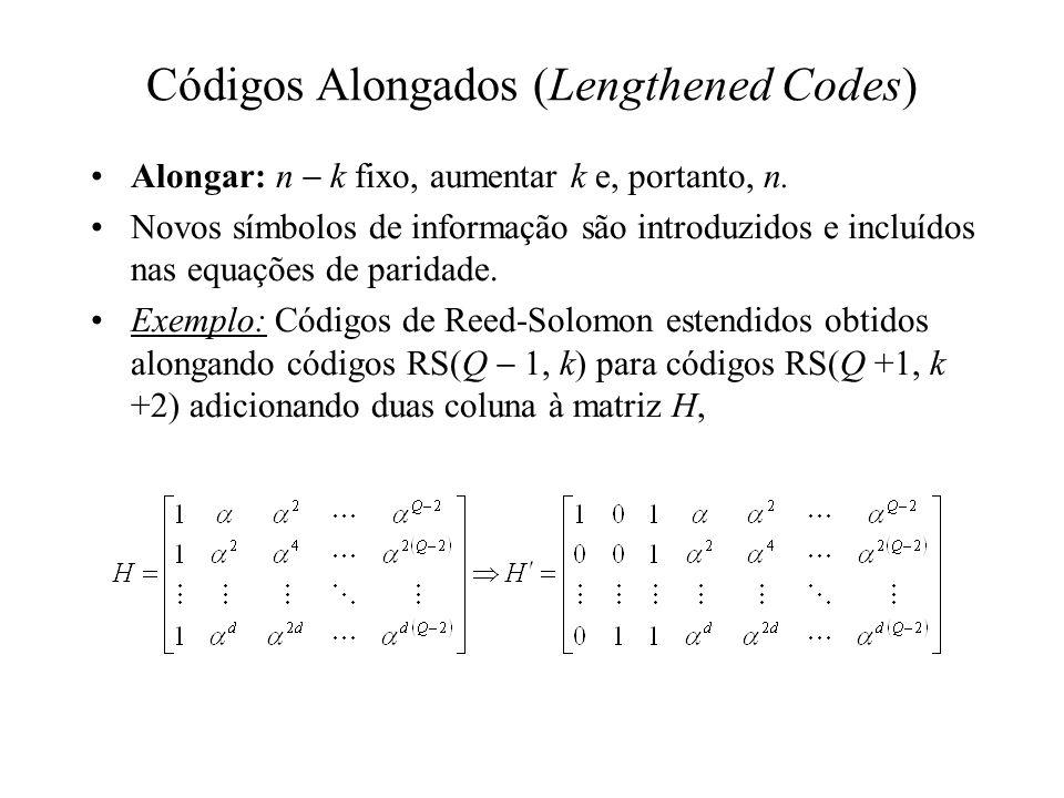 Códigos Alongados (Lengthened Codes) Alongar: n k fixo, aumentar k e, portanto, n. Novos símbolos de informação são introduzidos e incluídos nas equaç