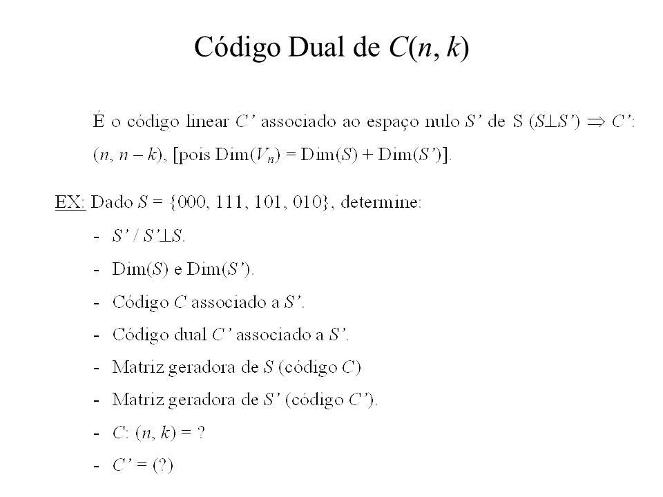 Código Dual de C(n, k)