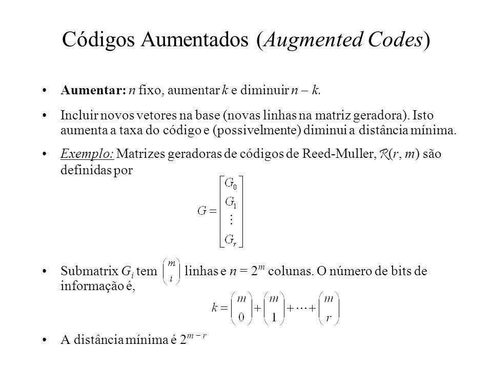 Códigos Aumentados (Augmented Codes) Aumentar: n fixo, aumentar k e diminuir n k. Incluir novos vetores na base (novas linhas na matriz geradora). Ist
