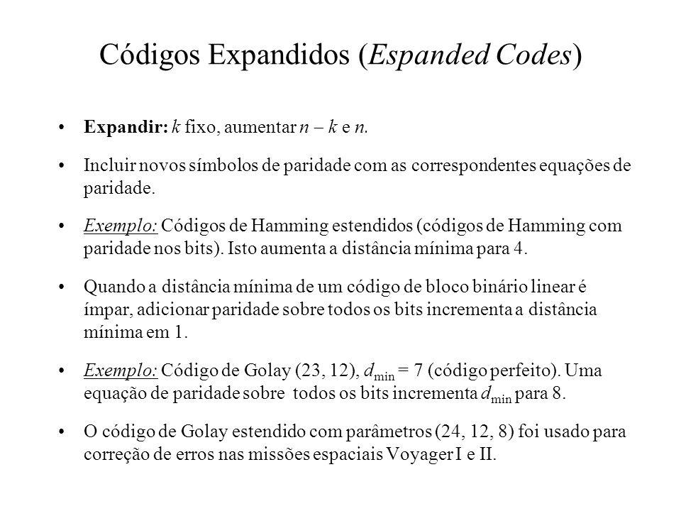 Códigos Expandidos (Espanded Codes) Expandir: k fixo, aumentar n k e n. Incluir novos símbolos de paridade com as correspondentes equações de paridade