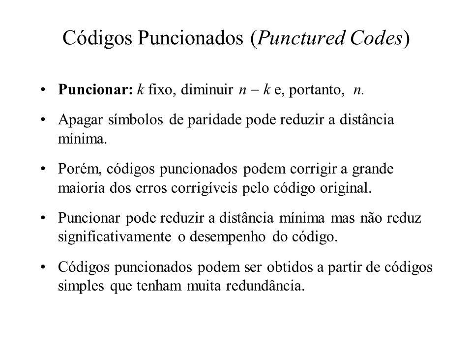 Códigos Puncionados (Punctured Codes) Puncionar: k fixo, diminuir n k e, portanto, n. Apagar símbolos de paridade pode reduzir a distância mínima. Por
