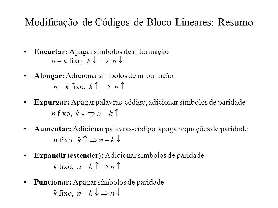 Modificação de Códigos de Bloco Lineares: Resumo Encurtar: Apagar símbolos de informação n k fixo, k n Alongar: Adicionar símbolos de informação n k f