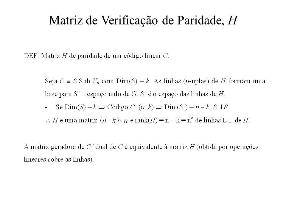 Matriz de Verificação de Paridade, H
