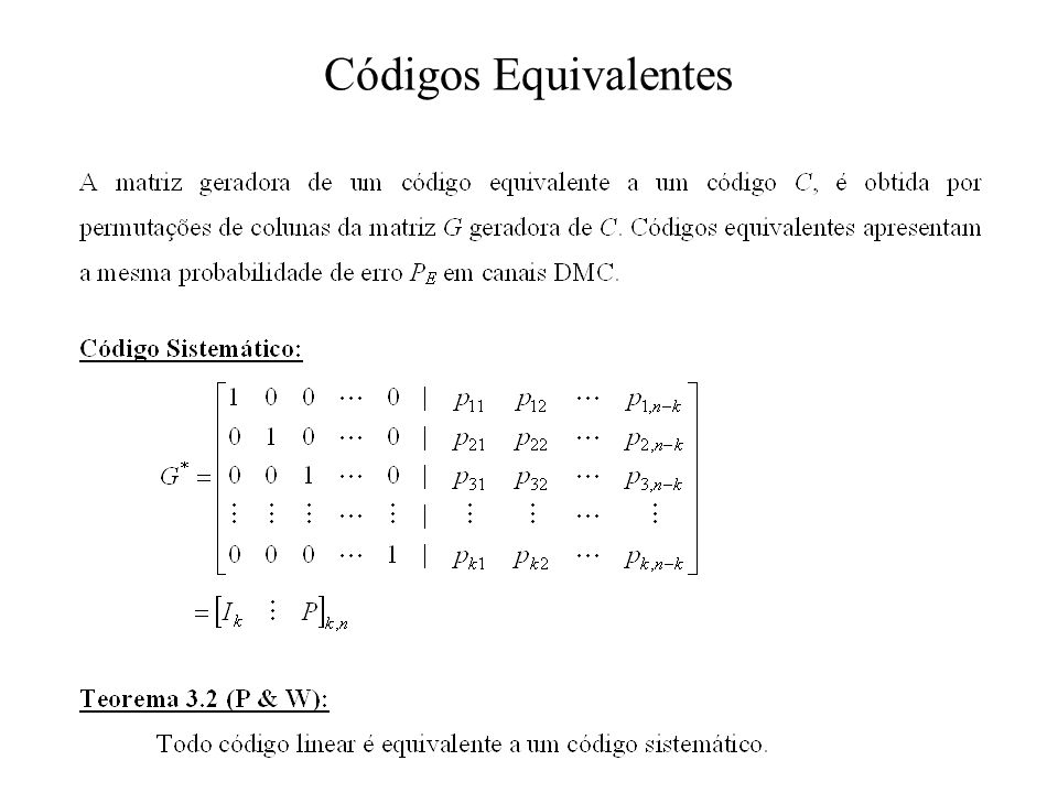 Códigos Equivalentes