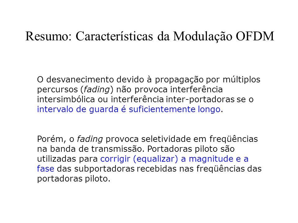 Resumo: Características da Modulação OFDM O desvanecimento devido à propagação por múltiplos percursos (fading) não provoca interferência intersimbóli