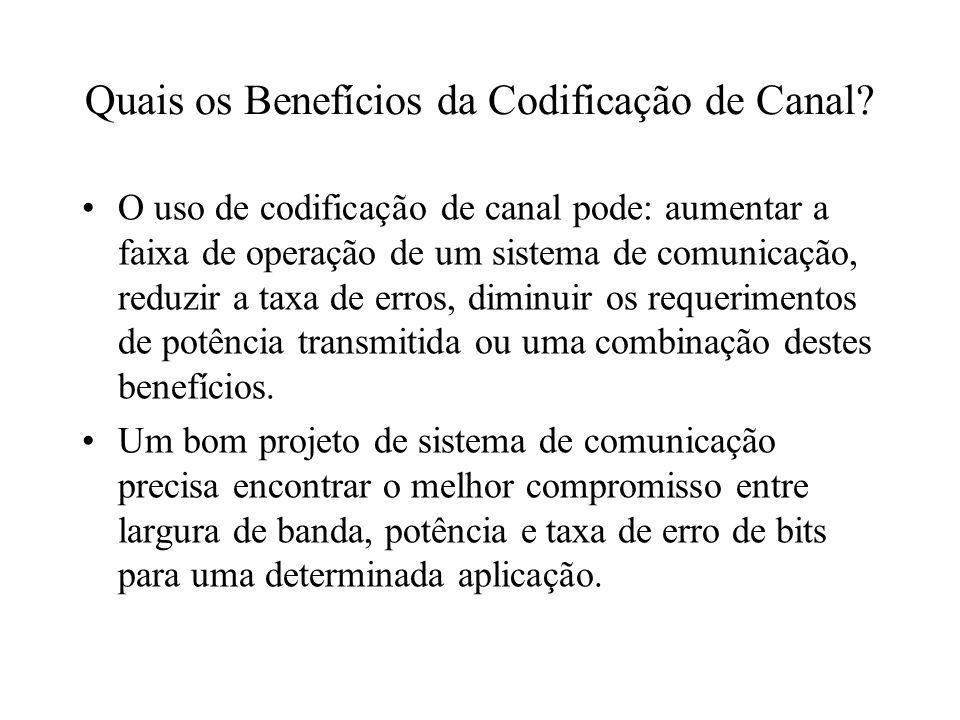 Quais os Benefícios da Codificação de Canal? O uso de codificação de canal pode: aumentar a faixa de operação de um sistema de comunicação, reduzir a