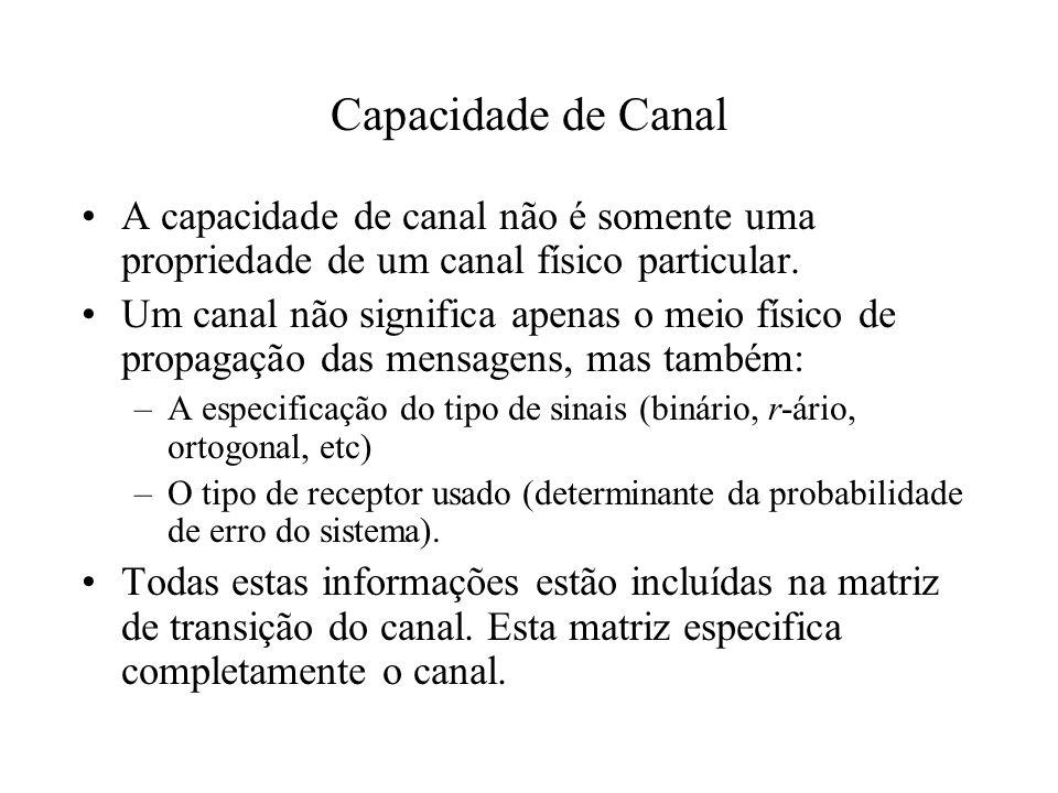 Capacidade de Canal A capacidade de canal não é somente uma propriedade de um canal físico particular. Um canal não significa apenas o meio físico de