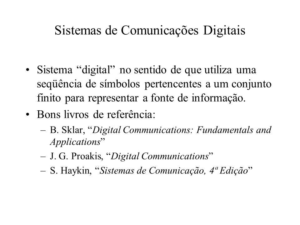 Sistemas de Comunicações Digitais Sistema digital no sentido de que utiliza uma seqüência de símbolos pertencentes a um conjunto finito para represent