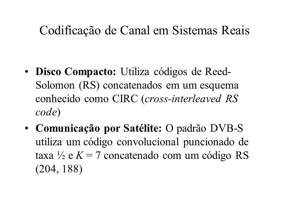Codificação de Canal em Sistemas Reais Disco Compacto: Utiliza códigos de Reed- Solomon (RS) concatenados em um esquema conhecido como CIRC (cross-int