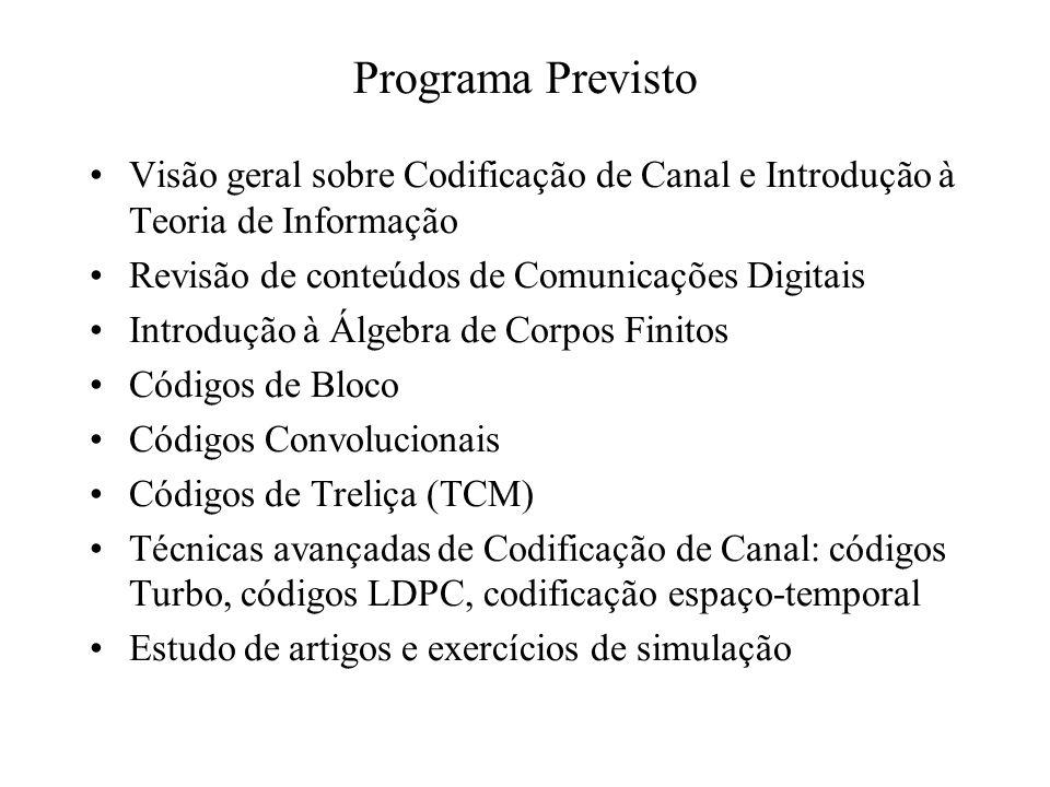 Programa Previsto Visão geral sobre Codificação de Canal e Introdução à Teoria de Informação Revisão de conteúdos de Comunicações Digitais Introdução à Álgebra de Corpos Finitos Códigos de Bloco Códigos Convolucionais Códigos de Treliça (TCM) Técnicas avançadas de Codificação de Canal: códigos Turbo, códigos LDPC, codificação espaço-temporal Estudo de artigos e exercícios de simulação