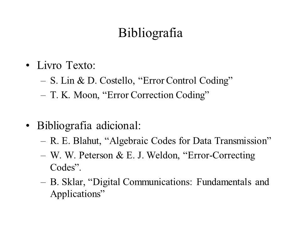 Bibliografia Livro Texto: –S. Lin & D. Costello, Error Control Coding –T. K. Moon, Error Correction Coding Bibliografia adicional: –R. E. Blahut, Alge