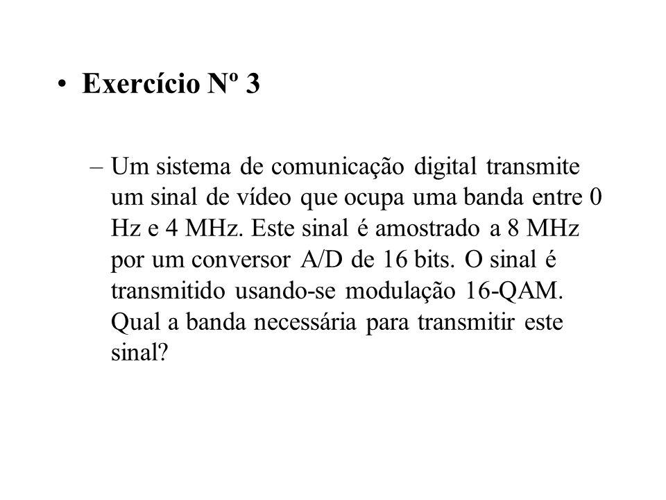 Exercício Nº 3 –Um sistema de comunicação digital transmite um sinal de vídeo que ocupa uma banda entre 0 Hz e 4 MHz.