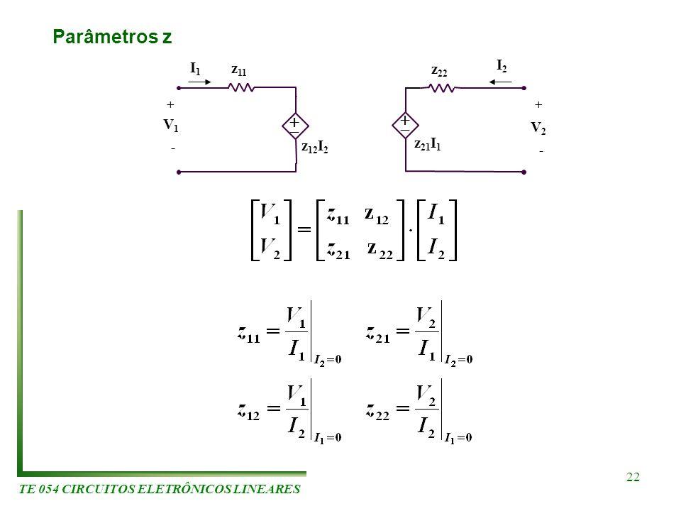 TE 054 CIRCUITOS ELETRÔNICOS LINEARES 22 Parâmetros z I2I2 z 11 z 12 I 2 z 21 I 1 z 22 V1V1 V2V2 I1I1 ++ - -
