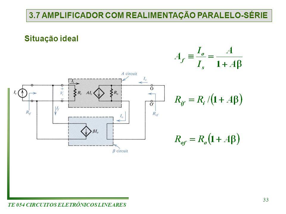 TE 054 CIRCUITOS ELETRÔNICOS LINEARES 33 3.7 AMPLIFICADOR COM REALIMENTAÇÃO PARALELO-SÉRIE Situação ideal