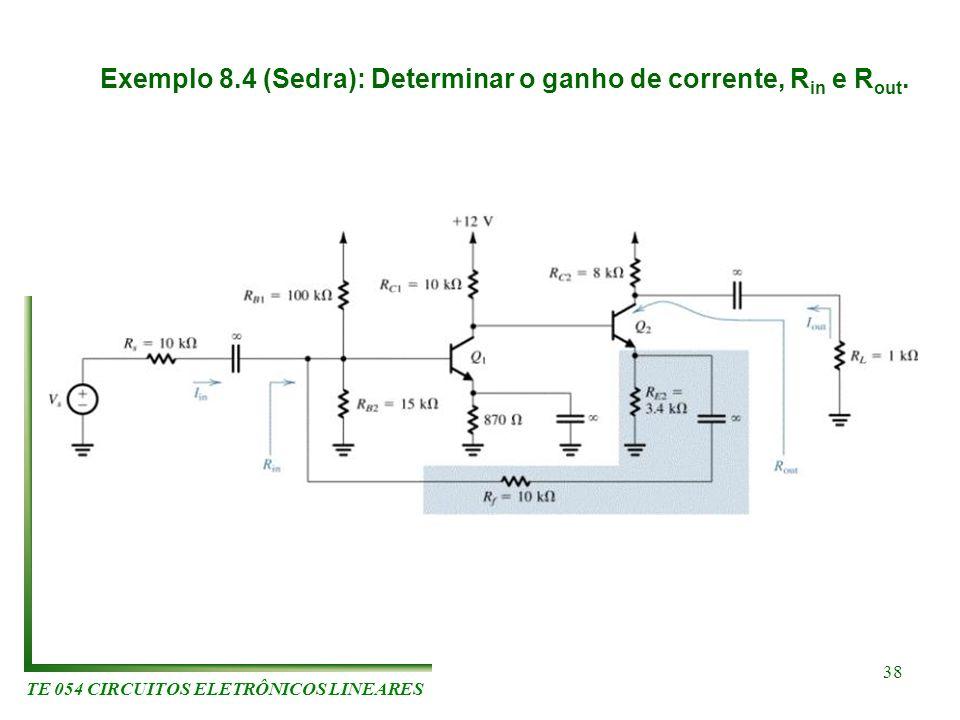 TE 054 CIRCUITOS ELETRÔNICOS LINEARES 38 Exemplo 8.4 (Sedra): Determinar o ganho de corrente, R in e R out.