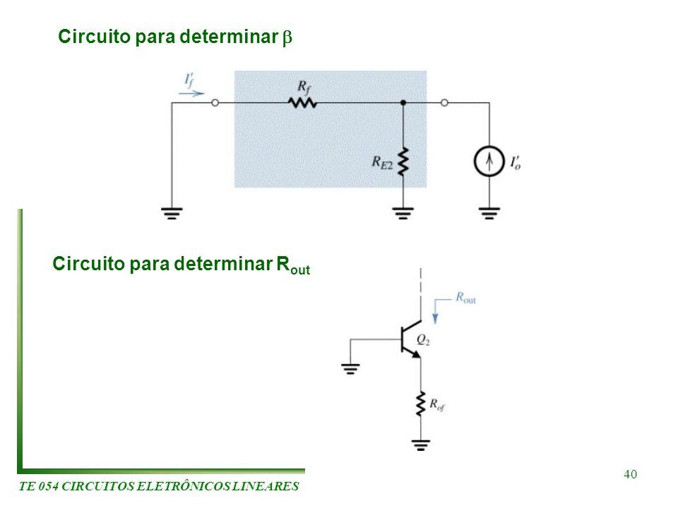 TE 054 CIRCUITOS ELETRÔNICOS LINEARES 40 Circuito para determinar Circuito para determinar R out