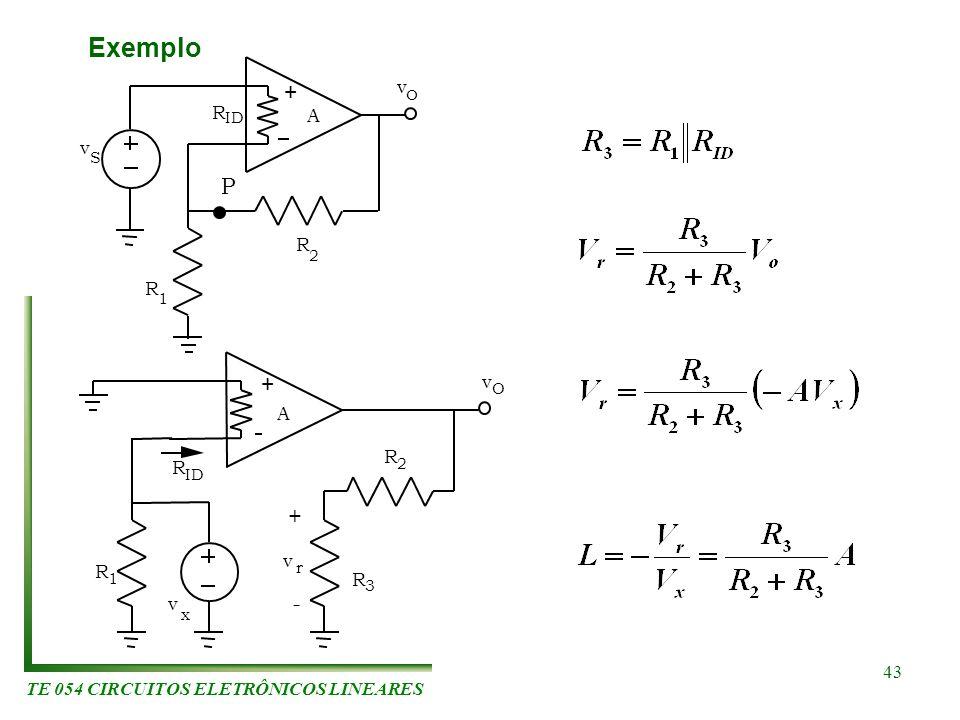 TE 054 CIRCUITOS ELETRÔNICOS LINEARES 43 Exemplo R 1 R 2 + S v v O P A R ID v x v O + R v r R 1 R 3 R 2 - + A