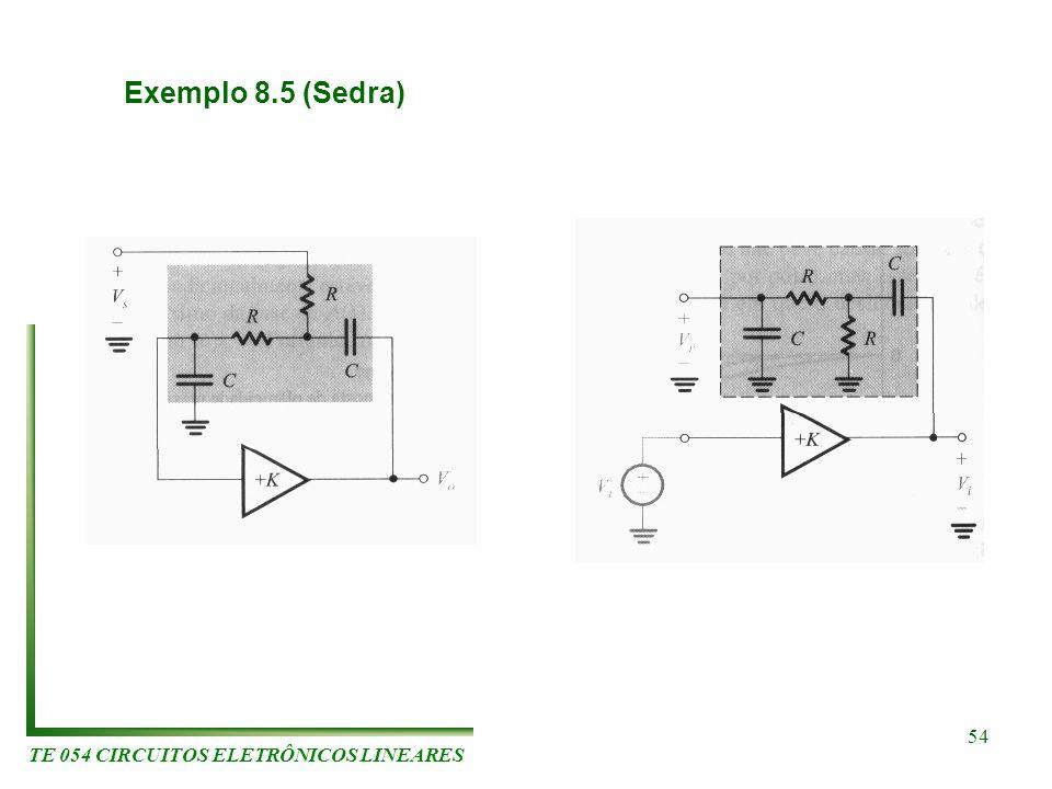 TE 054 CIRCUITOS ELETRÔNICOS LINEARES 54 Exemplo 8.5 (Sedra)