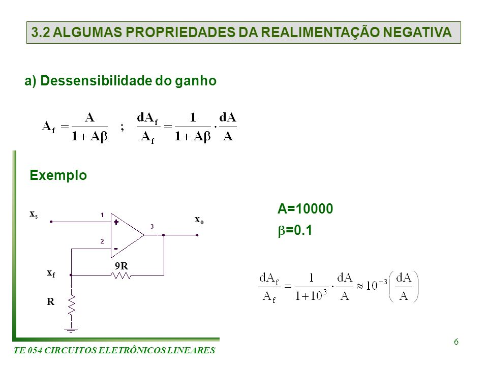 TE 054 CIRCUITOS ELETRÔNICOS LINEARES 6 3.2 ALGUMAS PROPRIEDADES DA REALIMENTAÇÃO NEGATIVA a) Dessensibilidade do ganho Exemplo xsxs xfxf R 9R xoxo A=