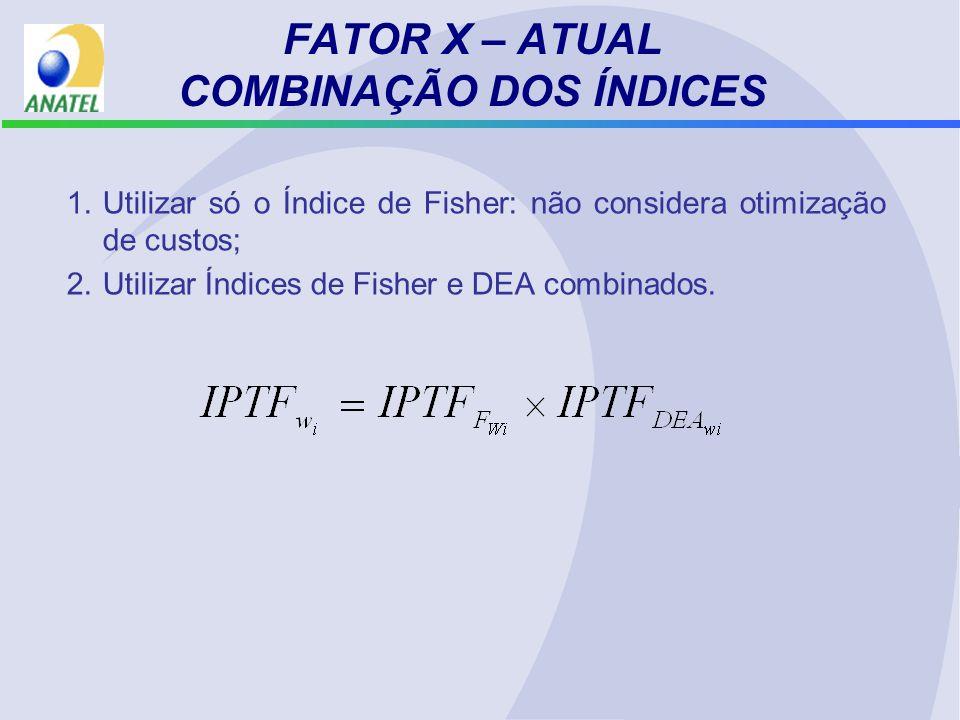 FATOR X – ATUAL COMBINAÇÃO DOS ÍNDICES 1.Utilizar só o Índice de Fisher: não considera otimização de custos; 2.Utilizar Índices de Fisher e DEA combinados.