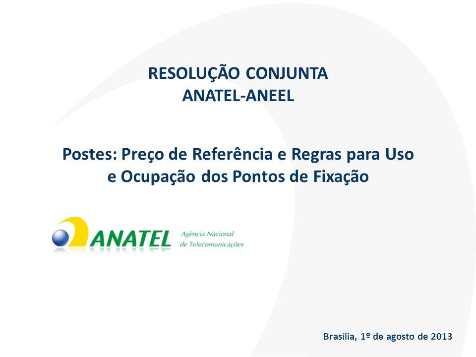 RESOLUÇÃO CONJUNTA ANATEL-ANEEL Postes: Preço de Referência e Regras para Uso e Ocupação dos Pontos de Fixação Brasília, 1º de agosto de 2013