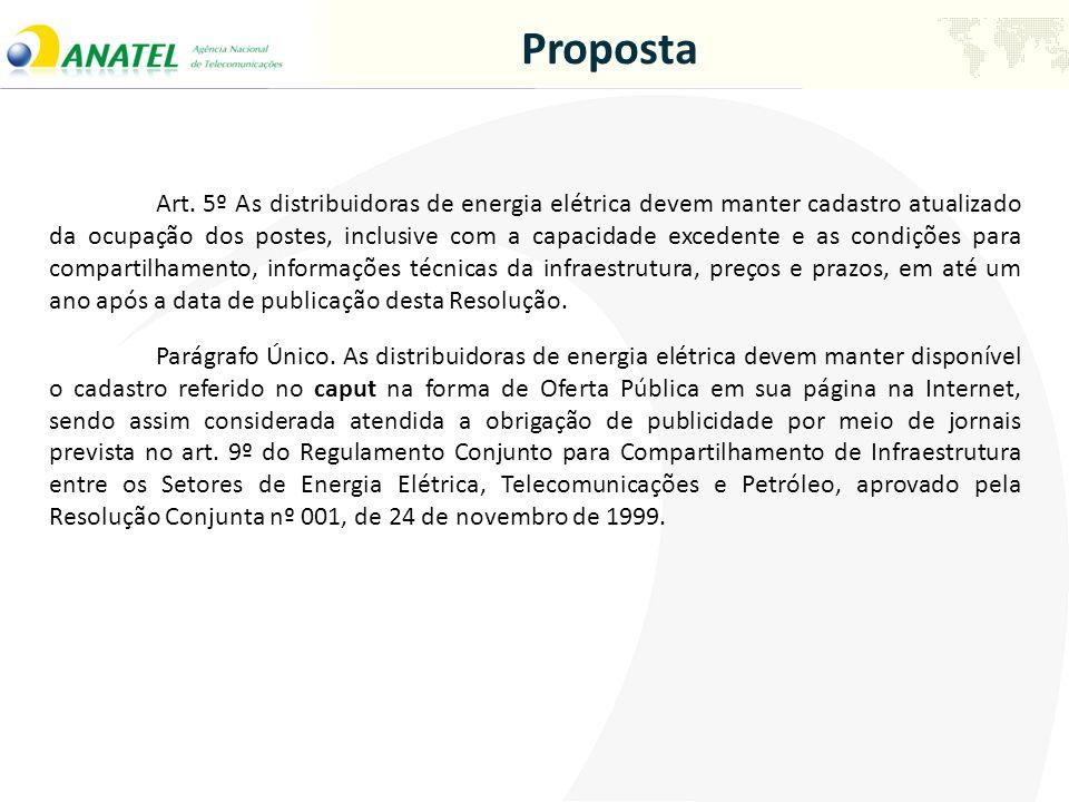 Proposta Art. 5º As distribuidoras de energia elétrica devem manter cadastro atualizado da ocupação dos postes, inclusive com a capacidade excedente e