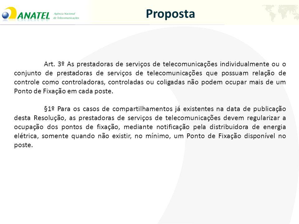Proposta Art. 3º As prestadoras de serviços de telecomunicações individualmente ou o conjunto de prestadoras de serviços de telecomunicações que possu