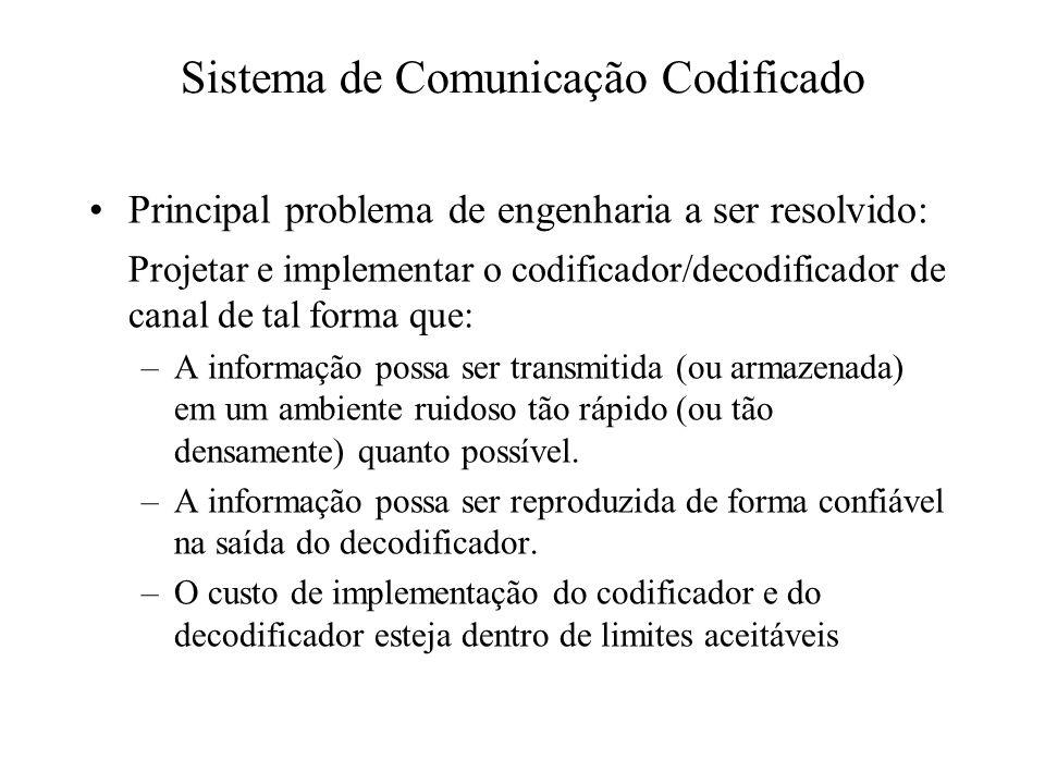 Principal problema de engenharia a ser resolvido: Projetar e implementar o codificador/decodificador de canal de tal forma que: –A informação possa se