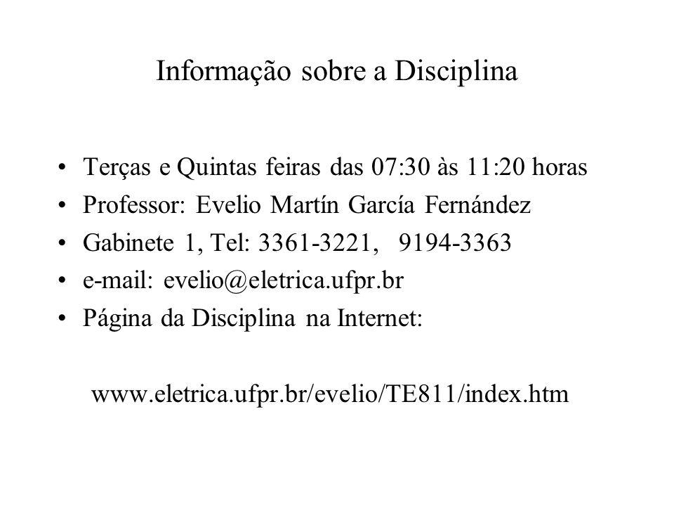 Informação sobre a Disciplina Terças e Quintas feiras das 07:30 às 11:20 horas Professor: Evelio Martín García Fernández Gabinete 1, Tel: 3361-3221, 9194-3363 e-mail: evelio@eletrica.ufpr.br Página da Disciplina na Internet: www.eletrica.ufpr.br/evelio/TE811/index.htm